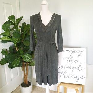 New York & Company Gray Dress With Jeweled Neck